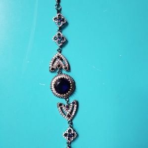 vintage turkish Sapphires on burnt sterling silver